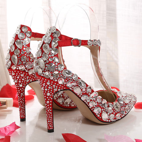 971535fb602 ALMUDENA Women Top Brand Sparkling Wedding Shoes String Beaded Fabulous  Banquet Shoes Stiletto Heel Crystal Pumps Pearl Footwear