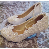 White wedding shoes womens ivory beaded pearls five stars sweet handmade brides shoes bridal party proms dress shoes
