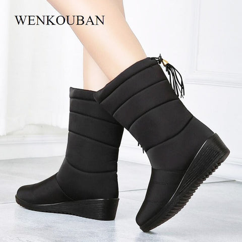 Waterproof Winter Boots Female Shoes Mid-Calf Down Boots Women Warm Ladies Snow Bootie Wedge Rubber Plush Botas Mujer 2019