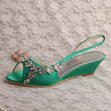 Customized Ivory Low Heel Wedding Shoes for Bride Wedges Crystals Women Sandals