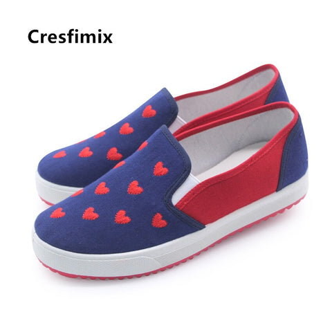 Rated 3.5* Cresfimix women fashion cute slip on canvas shoes lady casual sweet anti skid shoes female height increased leisure shoes