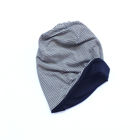 Reversible Slouchy Beanie- Black/White Stripe & Solid Black