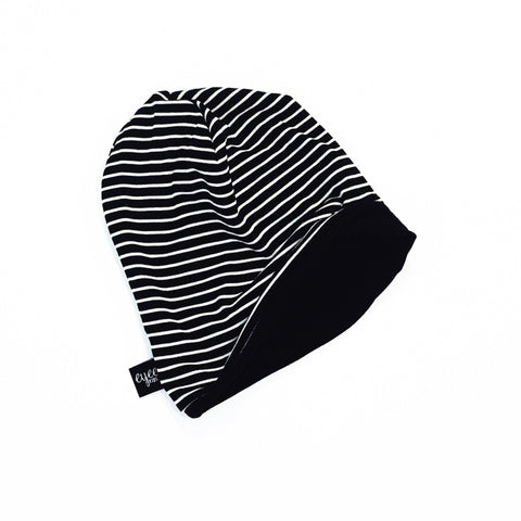 Reversible Slouchy Beanie- Black/Black/White Stripe & Solid Black