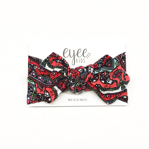 Top Knot Headband- Coral Elephant