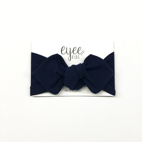 Top Knot Headband- Navy Blue