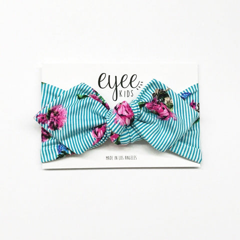 Top Knot Headband- Turquoise Stripes & Flowers