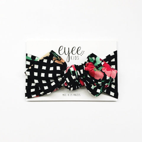 Top Knot Headband- B/W Grid Floral