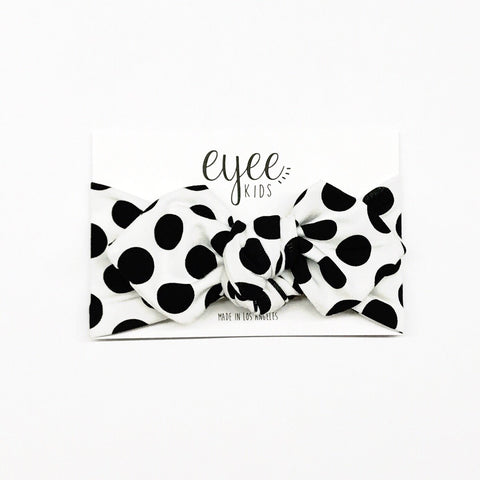 Top Knot Headband- B/W Polka Dot