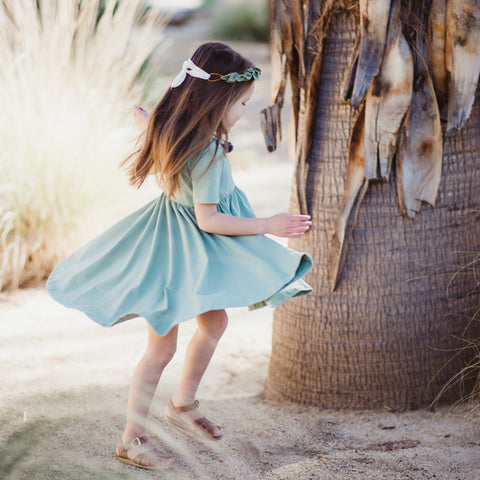 Classic High-Low Twirl Dress: Sage Green