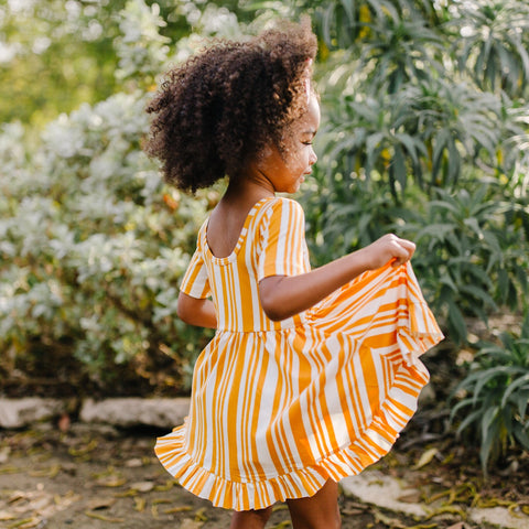 Ruffle Twirl Dress: Mustard Stripe