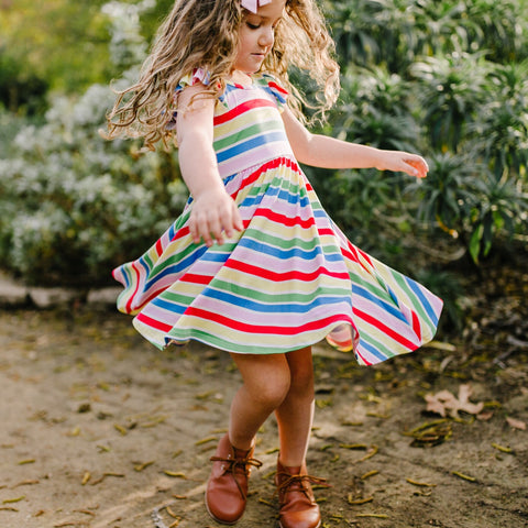 Classic Flutter Sleeve Twirl Dress: Candy Stripes