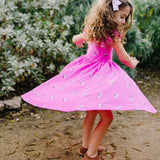 Classic Flutter Sleeve Twirl Dress: Pink Rainbows