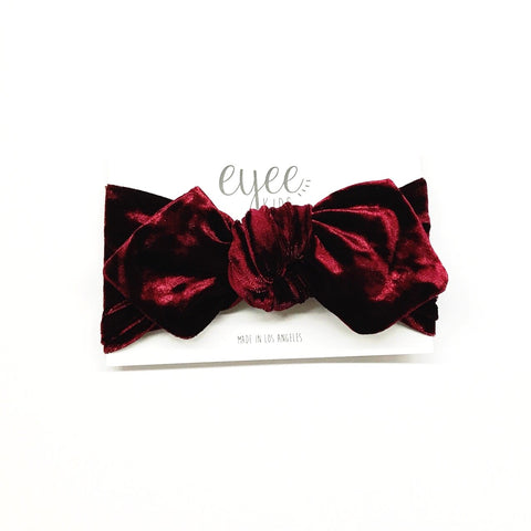 Top Knot Headband- Crushed Cranberry Red Velvet