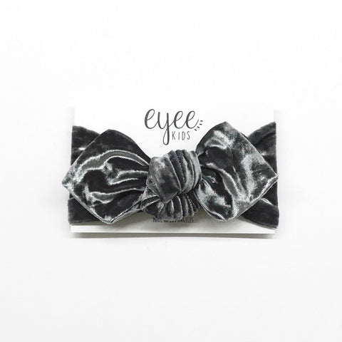 Top Knot Headband- Crushed Charcoal Grey Velvet