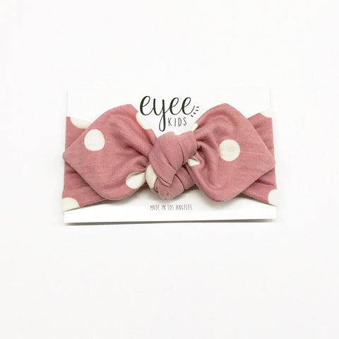 Top Knot Headband- Blush Dot