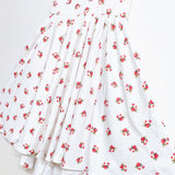 SS21 Classic High-Low Twirl Dress: White Floral (Ribbed Knit)