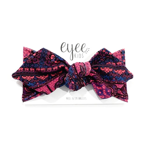 Top Knot Headband- Burgundy Aztec