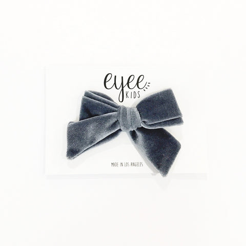 Velvet Hand-Tied Bow- Grey