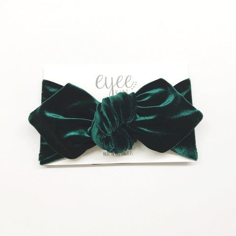 Top Knot Headband- Emerald Green Velvet
