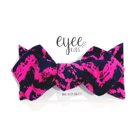 Top Knot Headband- Navy/Pink Aztec