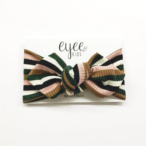 Top Knot Headband- Green  Neutral Stripe (Ribbed Knit)