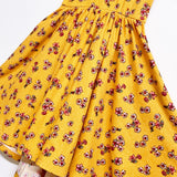 SS21 Classic High-Low Twirl Dress: Yellow Floral (Ribbed Knit)