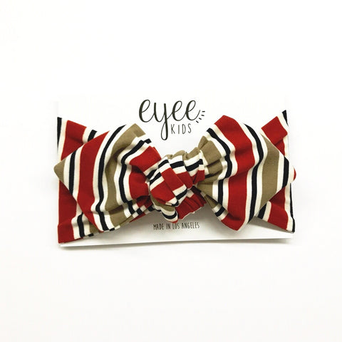 Top Knot Headband- Rust Taupe Horizontal Stripes