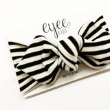 Top Knot Headband- B/W/Gold Stripe (Ribbed Knit)