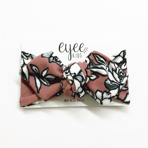 Top Knot Headband- Mauve Floral