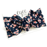 Top Knot Headband- Navy Winter Bloom