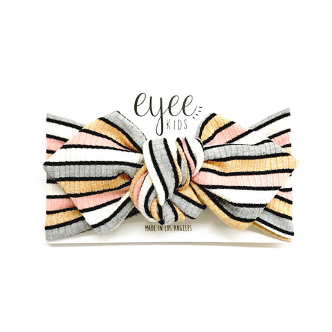 Top Knot Headband- Shimmer Grey & Peach Stripe (Ribbed Knit)