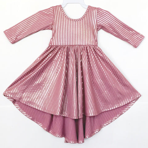 AW19 Classic High-Low Twirl Dress: Rose Gold Shimmer