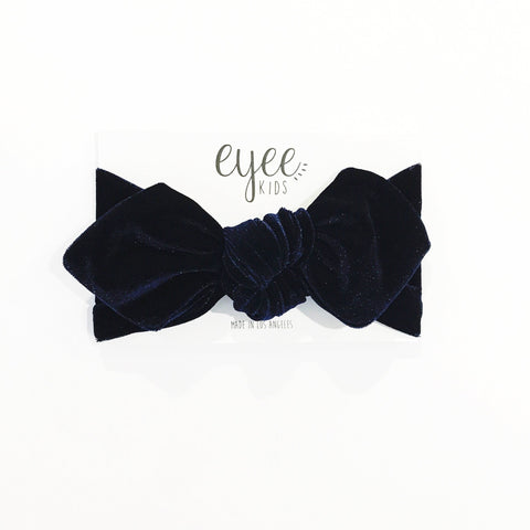 Top Knot Headband- Navy Blue Velvet