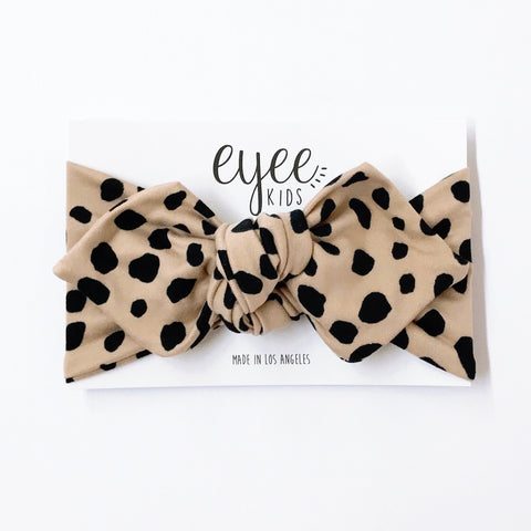 Top Knot Headband- Taupe Dots