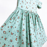 SS20 Classic High-Low Twirl Dress: Seafoam Floral