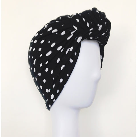 GLAM Knot Turban- B/W Dots