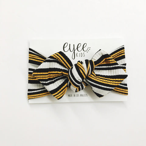 Top Knot Headband- Yellow Varsity Stripe (Ribbed Knit)