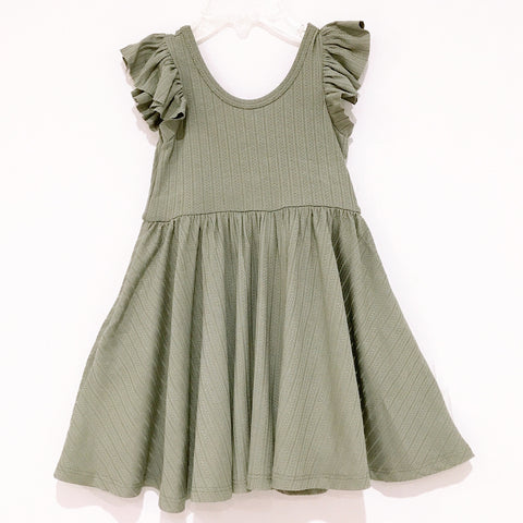 Pre-Fall20 Ribbed Ruffle Twirl Dress: Sage
