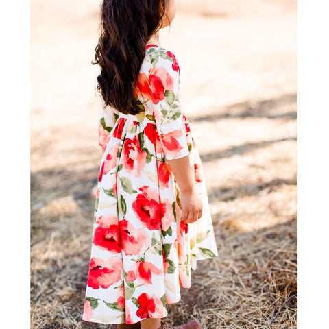 AW19 Classic High-Low Twirl Dress: White Floral