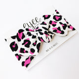 Top Knot Headband- Bubblegum Pink Leopard