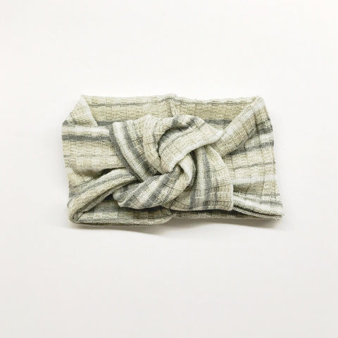 Classic Turban- Multi Grey Stripes