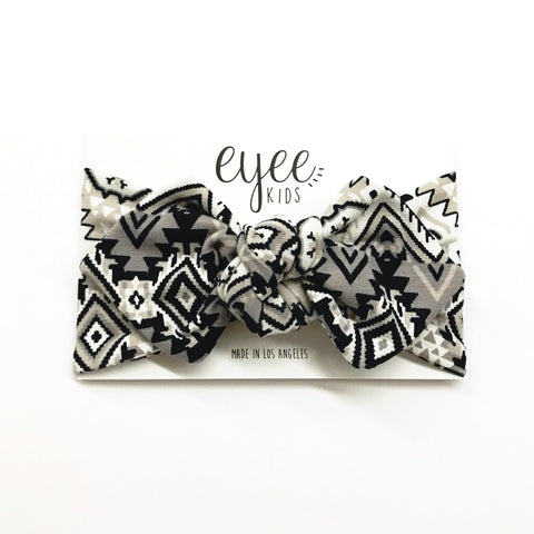 Top Knot Headband- Aztec Grey