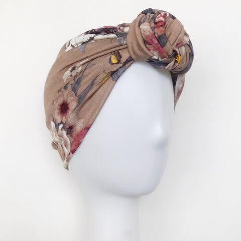 GLAM Knot Turban- Taupe Floral