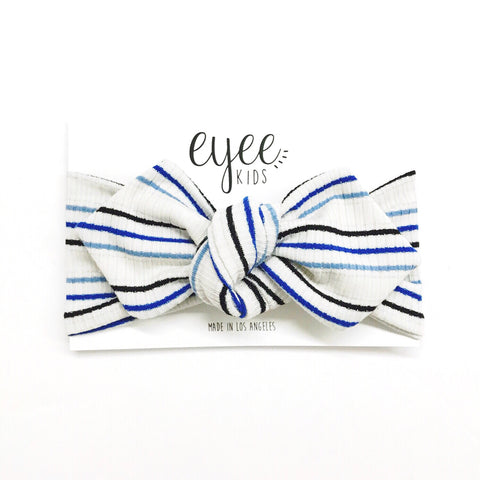 Top Knot Headband- Shimmer Blue Stripe (Ribbed Knit)
