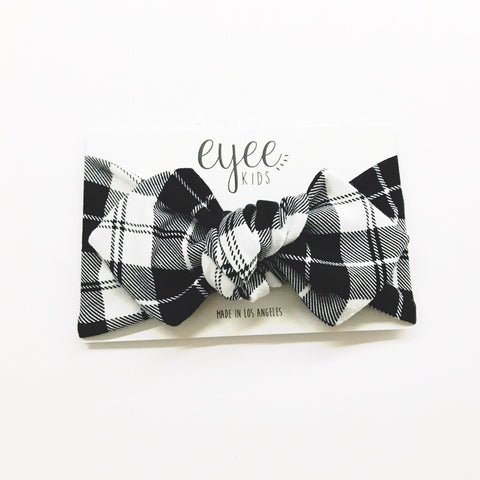 Top Knot Headband- B/W Tartan Plaid