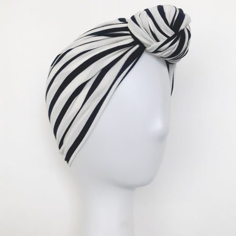 GLAM Knot Turban- B/W Stripe