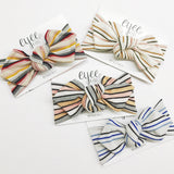 Top Knot Headband- Shimmer Autumn Stripe (Ribbed Knit)