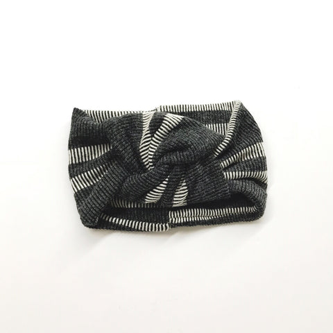 Classic Turban- Textured Grey Stripe