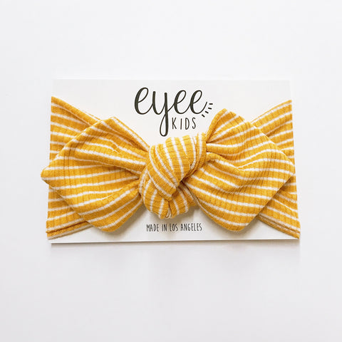 Top Knot Headband- Mustard/White Stripe  (Ribbed Knit)