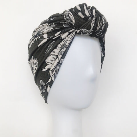 GLAM Knot Turban- Olive Floral